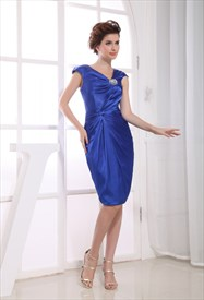Knee Length Cocktail Dresses With Sleeves, Royal Blue Homecoming Dress