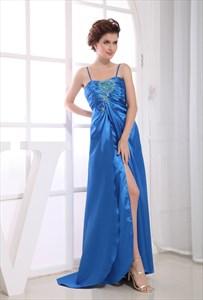 Long Empire Waist Evening Dresses, Cut Out Embellished Prom Dress