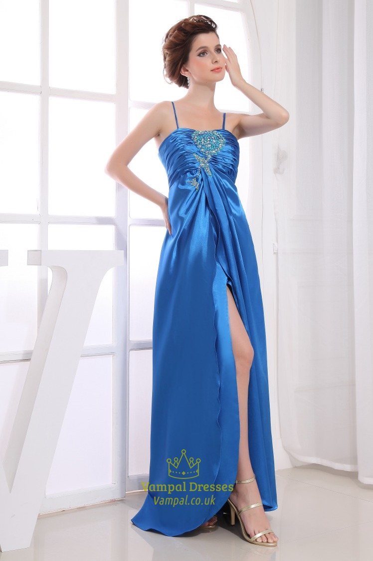 Long Empire Waist Evening Dresses, Cut Out Embellished Prom Dress