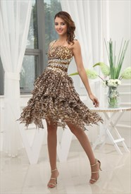 Leopard Print One Shoulder Chiffon Dress, Leopard Print Ruffle Dress