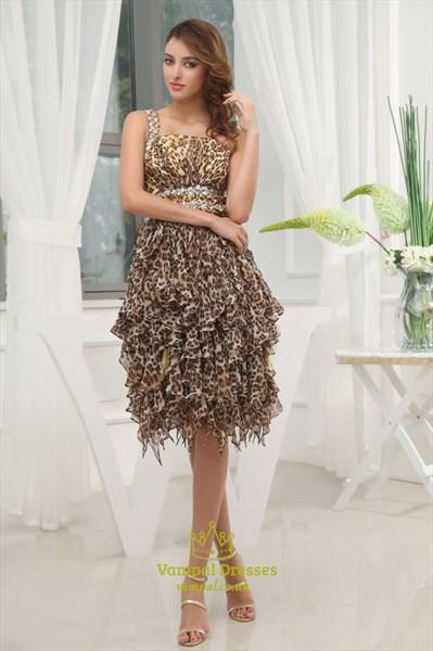 Leopard Print One Shoulder Chiffon Dress, Leopard Print Ruffle Dress