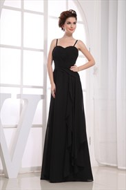Black Chiffon Floor Length Bridesmaid Dress, Black Chiffon Prom Dress