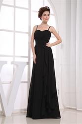 Black Chiffon Floor Length Bridesmaid Dress, Black Chiffon Prom Dress