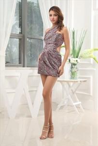 One Shoulder Mini Dress Cut Away Panelling, Leopard One Shoulder Dress