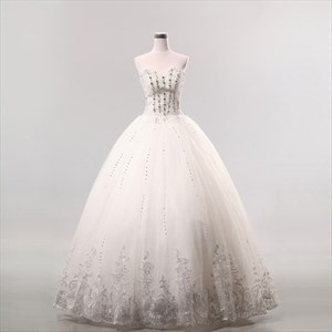 Beaded Lace Applique For Wedding Dress, Sweetheart Lace Wedding Dress