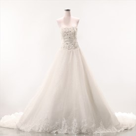 A-Line Strapless Dropped Waist Wedding Dress, Soft Net Wedding Dresses
