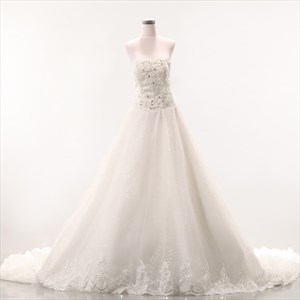 A-Line Strapless Dropped Waist Wedding Dress, Soft Net Wedding Dresses