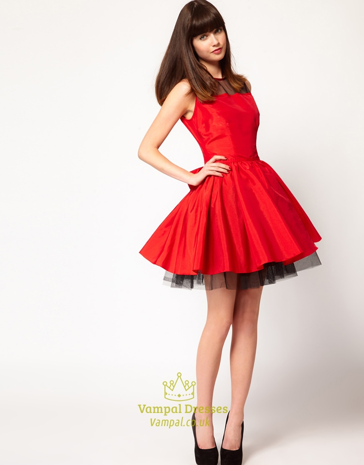 Red And Black Short Homecoming Dresses Red Dresses For Holiday