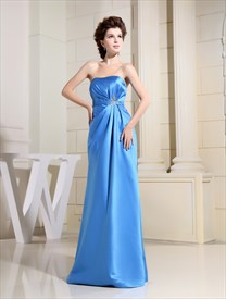 Aqua Blue Strapless Prom Dress,A-Line Strapless Satin Bridesmaid Dress