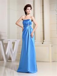 Aqua Blue Strapless Prom Dress,A-Line Strapless Satin Bridesmaid Dress