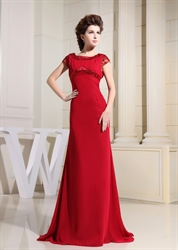 Beaded Chiffon Mother Of The Bride Dress, Long Red Chiffon Prom Dress