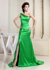 Green One Shoulder Prom Dress, Floor Length One Shoulder Formal Dress