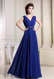 Long V-Neck Royal Blue Prom Dress, V Neck Chiffon Bridesmaid Dresses