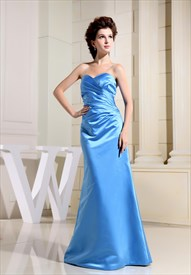 A Line Sweetheart Bridesmaid Dress, Aqua Blue Strapless Prom Dress