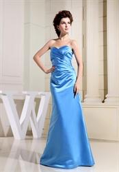 A Line Sweetheart Bridesmaid Dress, Aqua Blue Strapless Prom Dress