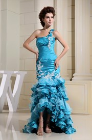 One Shoulder Pleated Ruffle Dress, Aqua Blue Mermaid Prom Dress
