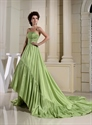 Long Green Strapless Prom Dress, Prom Dress With Trains Short In Front