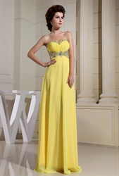 Yellow Chiffon Evening Dress, Sweetheart Long Chiffon Evening Dress
