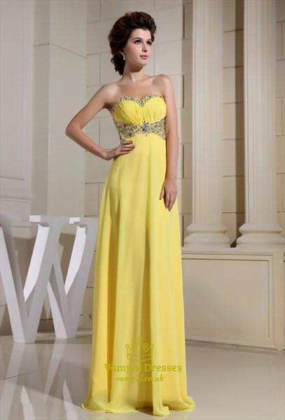 Yellow Chiffon Evening Dress, Sweetheart Long Chiffon Evening Dress
