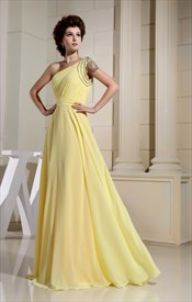 Chiffon One Shoulder Prom Dress, Floor Length One Shoulder Prom Dress