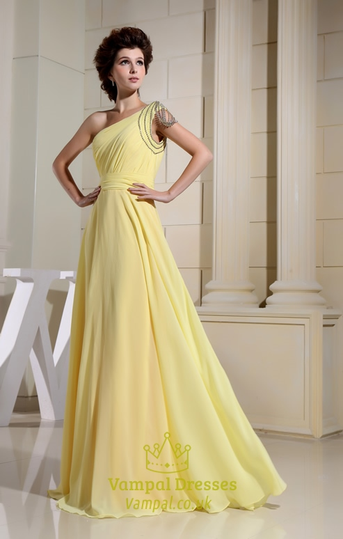 Chiffon One Shoulder Prom Dress, Floor Length One Shoulder Prom ...