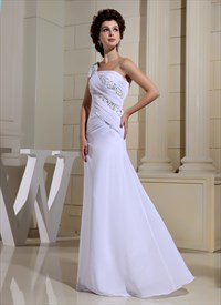 One Shoulder Applique Ruching Chiffon Prom Dress,Long White Prom Gowns