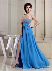 Aqua Blue Strapless Prom Dress, Chiffon Empire Waist Evening Dresses