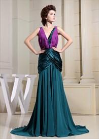 Column V-Neck Floor-Length Evening Dress, Ruched Mermaid Prom Dress