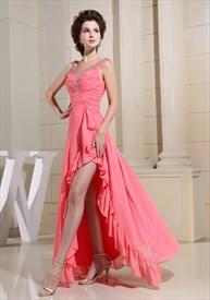 Classic Long Beaded Chiffon Prom Dress, Prom Dress With High Split