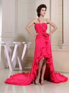 Hot Pink One Shoulder Prom Dress, One Shoulder High-Low Ruffle Dress