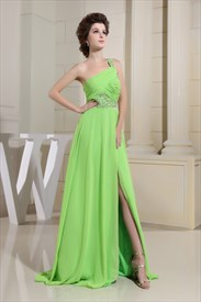 Long Green One-Shoulder Chiffon Prom Dress, Evening Dress Side Split