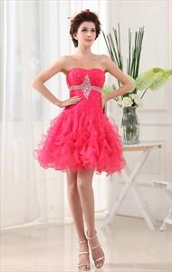 Hot Pink Strapless Homecoming Dresses, Strapless Organza Ruffle Dress