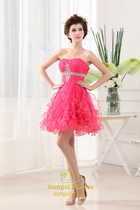 hot pink strapless homecoming dresses strapless organza