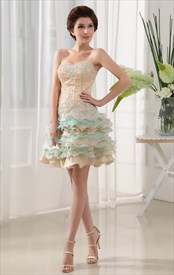 Sweetheart Strapless Beading Organza Homecoming Dress, Layered Dresses