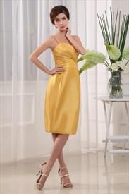 Short Empire Waist Prom Dresses, Short Yellow Spaghetti Strap Dress