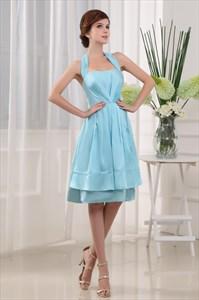 Knee Length Halter Prom Dresses, Light Sky Blue Homecoming Dresses