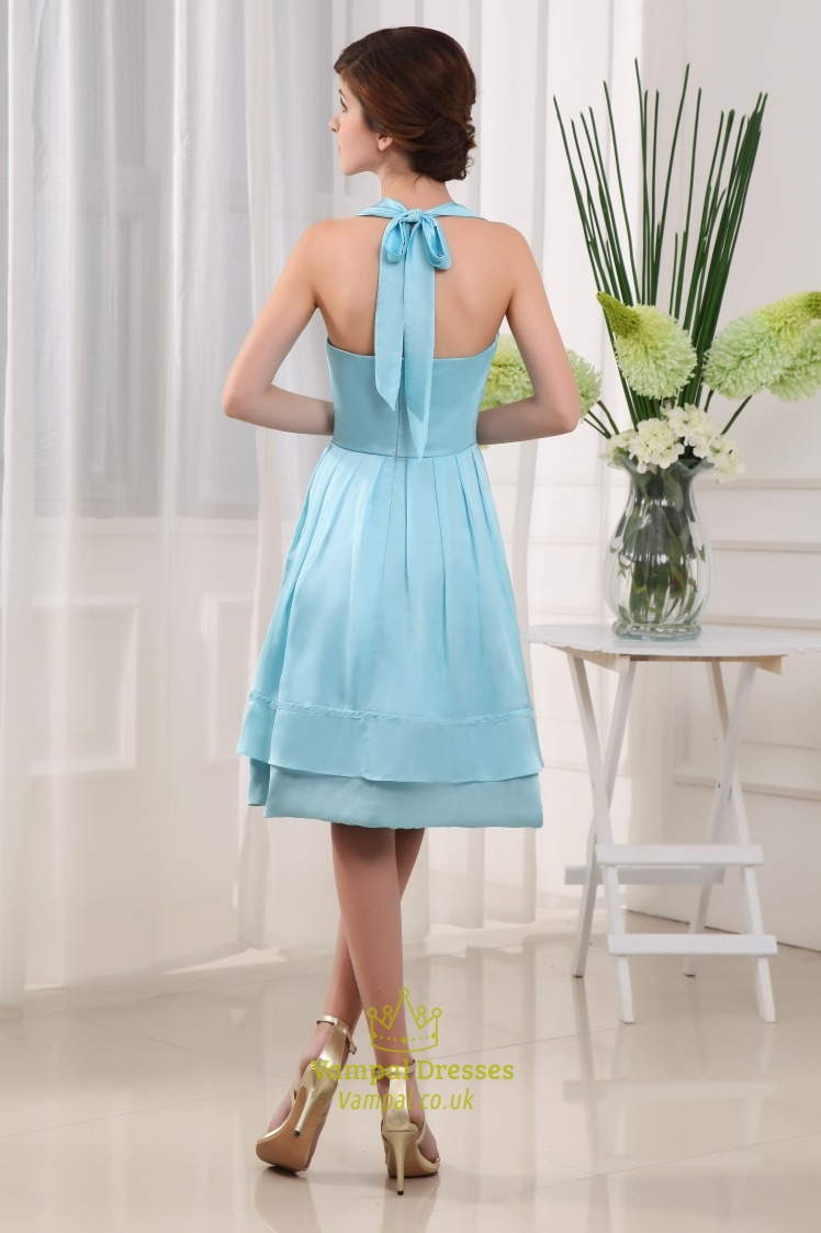 Knee Length Halter Prom Dresses Light Sky Blue Homecoming