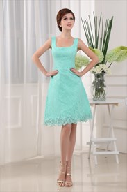 A Line Knee Length Cocktail Dress, Green Lace Homecoming Dress