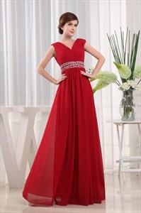 Long Red Chiffon Prom Dress, A-Line V-Neck Floor-Length Chiffon Dress