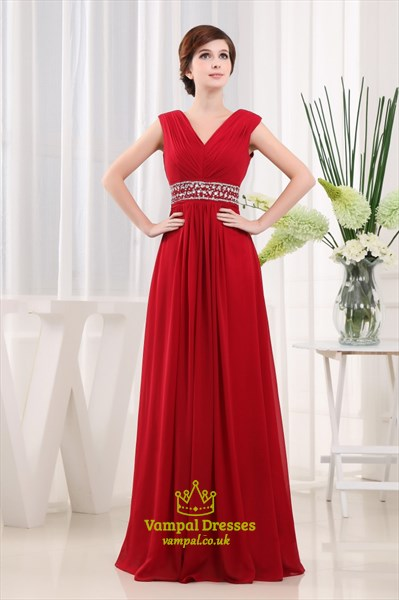 Long Red Chiffon Prom Dress, A-Line V-Neck Floor-Length Chiffon Dress