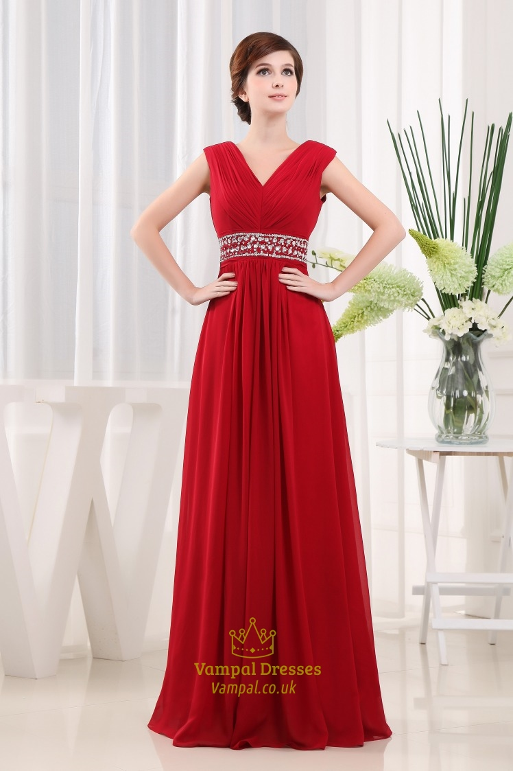 Long Red Chiffon Prom Dress A Line V Neck Floor Length