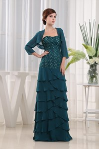Dark Green Mother Of The Bride Dress, Tiered Strapless Chiffon Gown