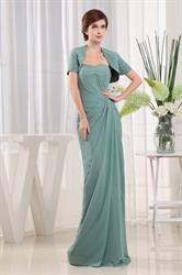 Sheath Sweetheart Beaded Chiffon Prom Dress, Draped Chiffon Prom Dress