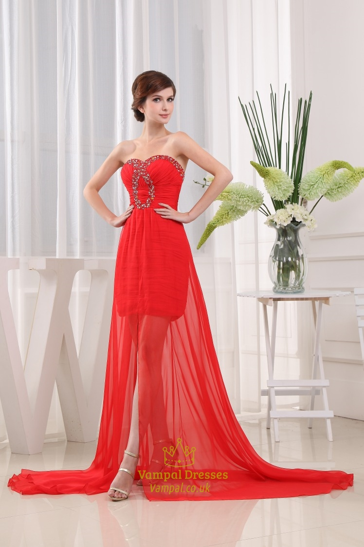 Red Chiffon Prom Dresses Strapless Applique Beaded