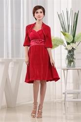 Knee Length Red Cocktail Dress,Strapless Empire Waist Short Prom Dress