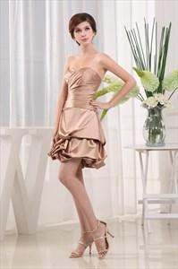 Short Bubble Cocktail Dress,Strapless Satin Bubble Dress Cocktail Gown