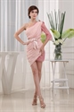 Long Sleeve One Shoulder Homecoming Dress, Pink Chiffon Cocktail Dress