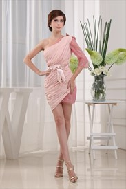 Long Sleeve One Shoulder Homecoming Dress, Pink Chiffon Cocktail Dress