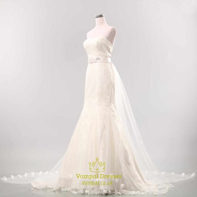 Mermaid Wedding Dress Train : Mermaid wedding dress with long train strapless