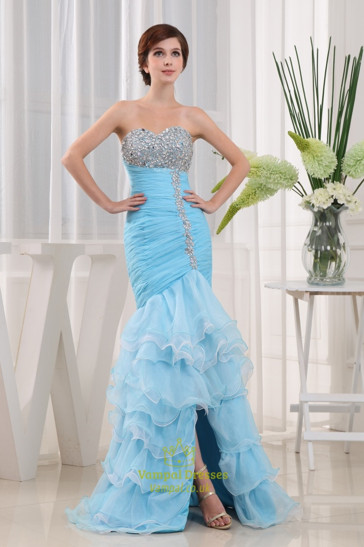 Mermaid Sweetheart Cocktail Organza Evening Dress, Layered Prom ...